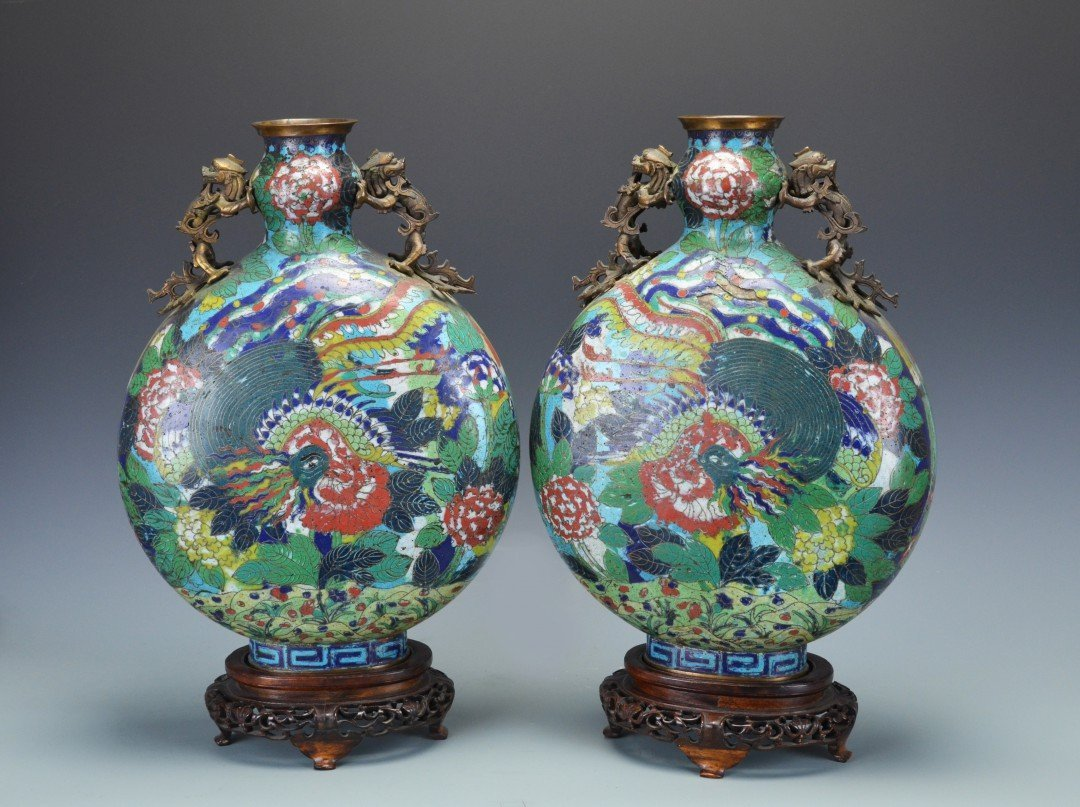 A Pair of Chinese Cloisonne Flask Shaped Vases