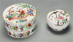 Two Chinese Famille Rose Porcelain Boxes