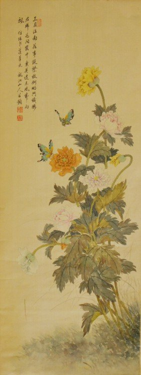 A Chinese Painting of Peonies and Butterflies