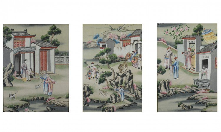 A Set of Three Large Chinese Paintings