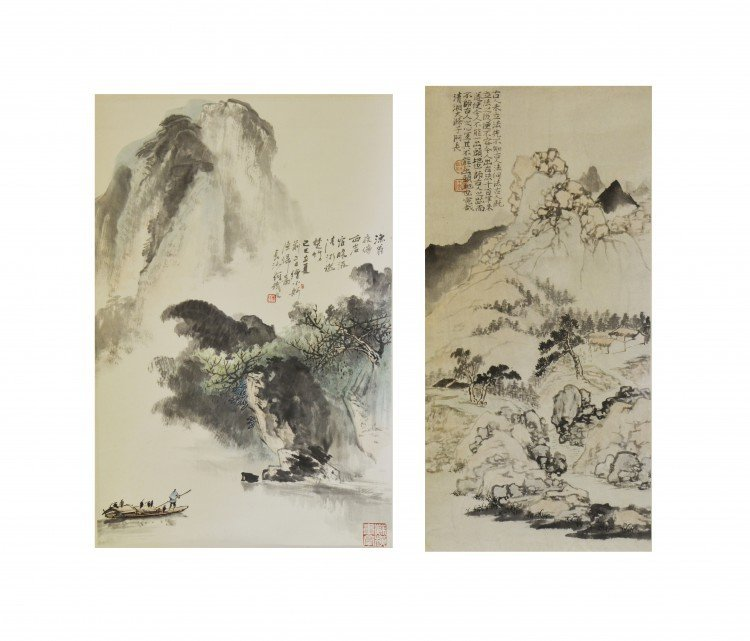 Two Prints of Chinese Paintings as Hanging Scrolls
