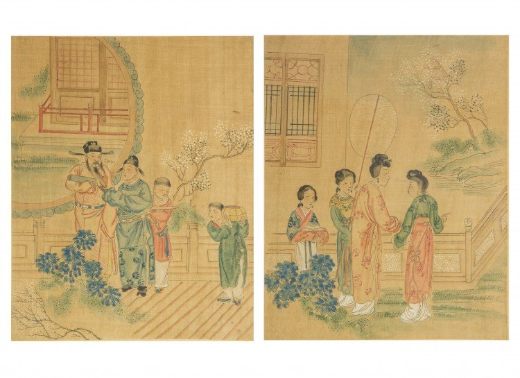 A Pair of Chinese Figurative Paintings