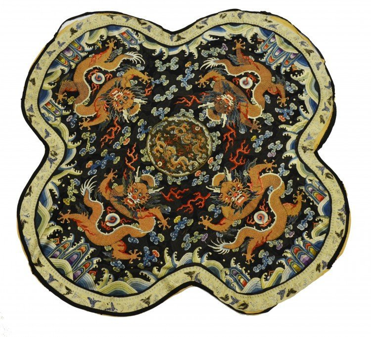 A Chinese Silk Quadrilobate Panel