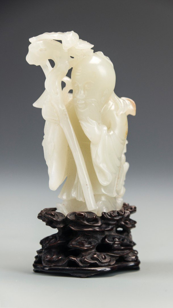 A Chinese White Jade Carving of Shoulao