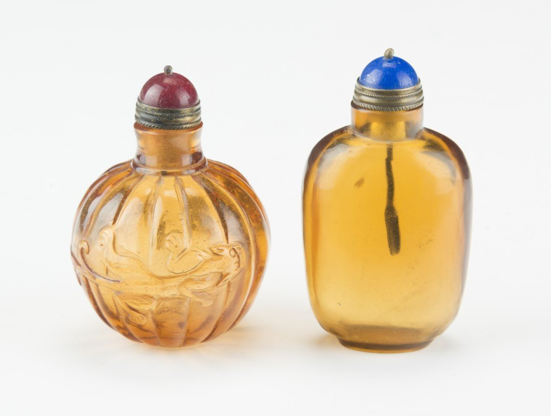 Two Amber-Colored Peking Glass Snuff Bottles