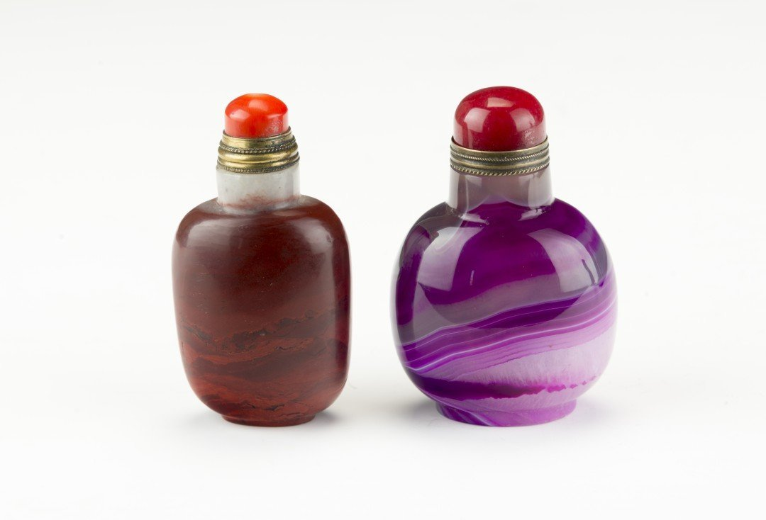 Jasper and Quartz Agate Snuff Bottles
