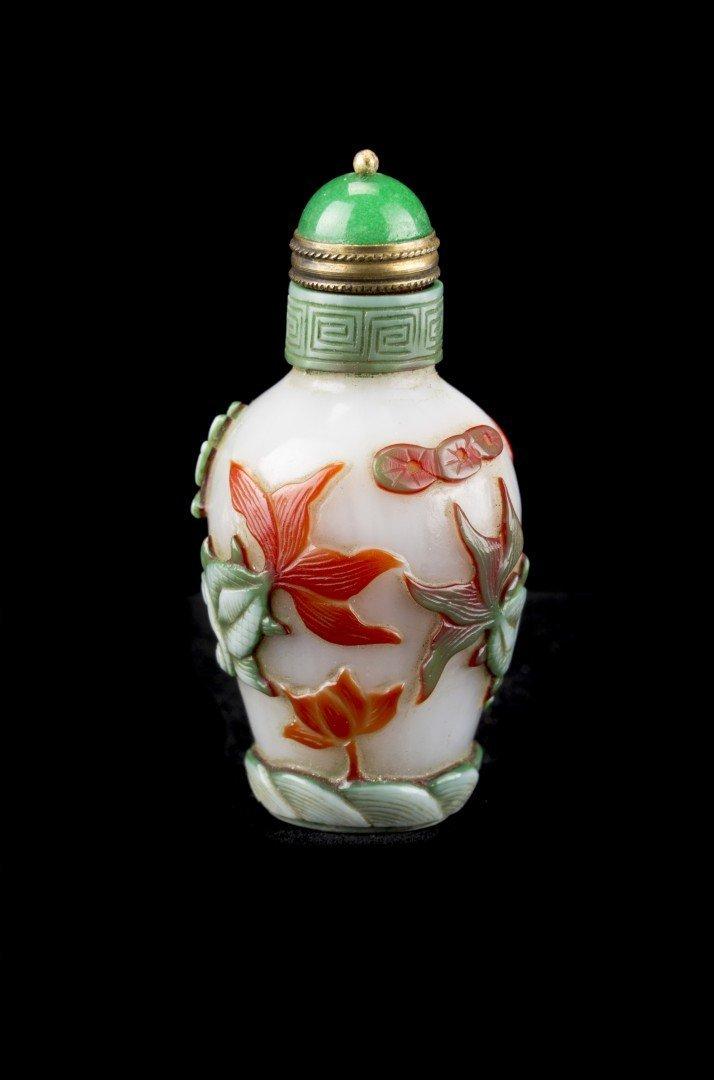 A Peking Glass Overlay Aquatic Theme Snuff Bottle