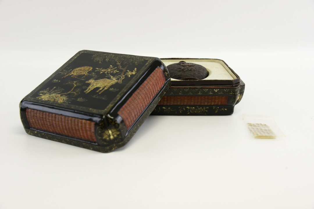 A Carved Horn Snuff Bottle and Lacquer Box