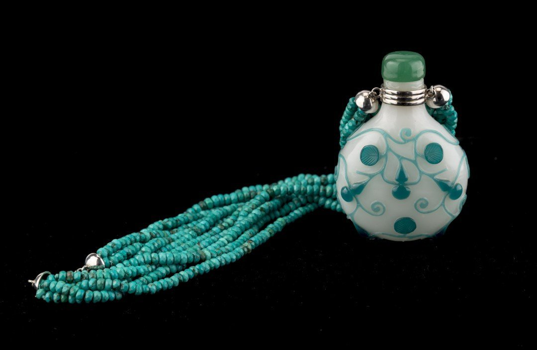 A Peking Glass with Blue Overlay Snuff Bottle