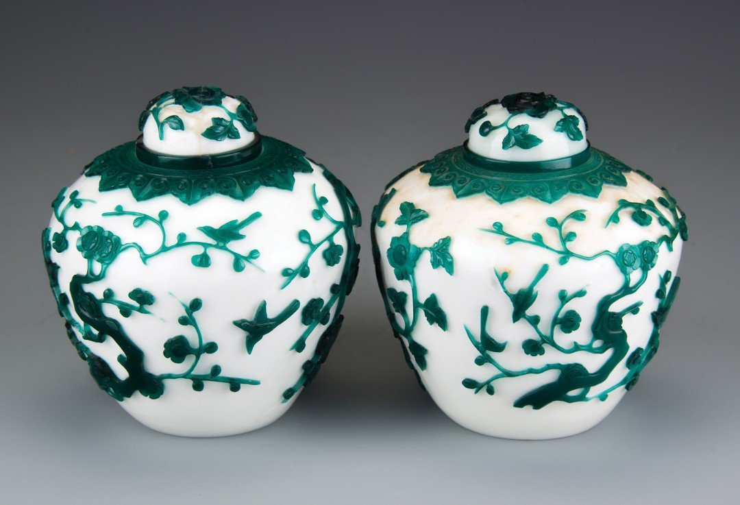 A Pair of White Peking Glass Jars with Green Overlay