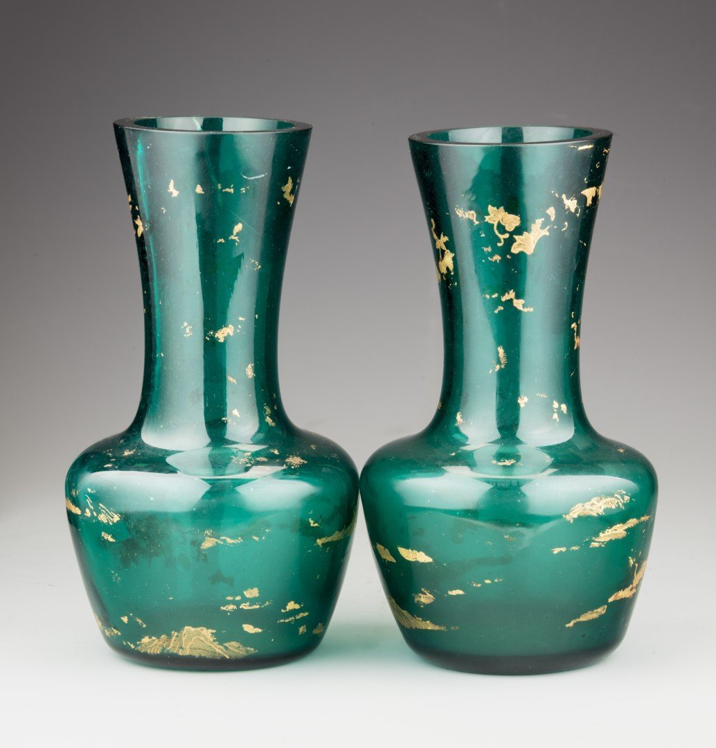 A Pair of Chinese Green Peking Glass Vases, Qianlong