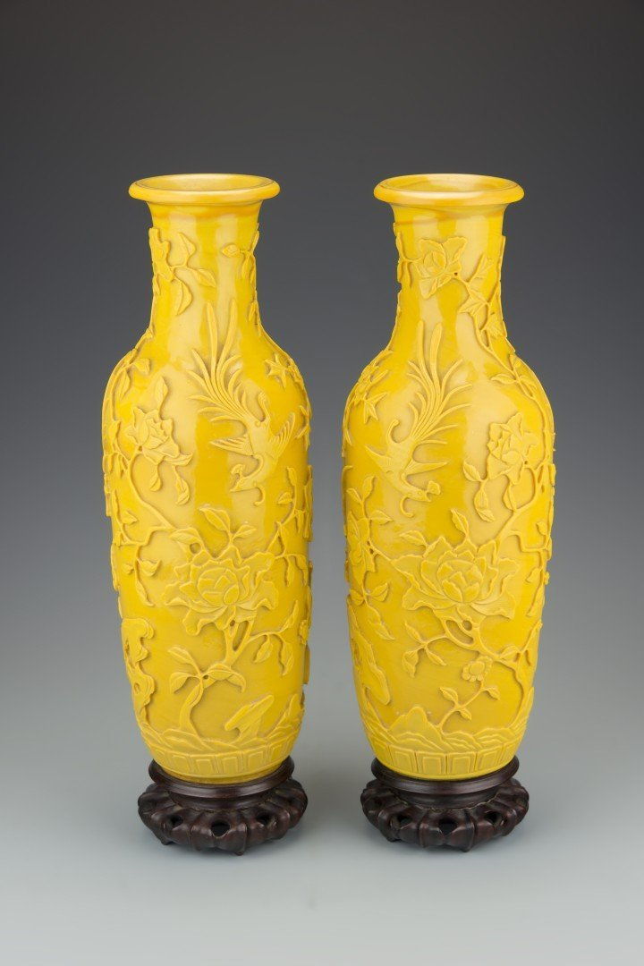 A Pair of Chinese Imperial Yellow Peking Glass Vases,