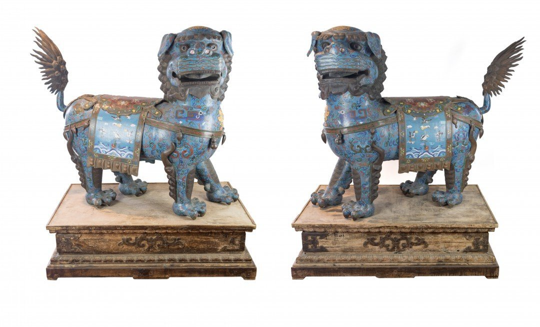 A Large Imperial Pair of Cloisonne Fu Dogs