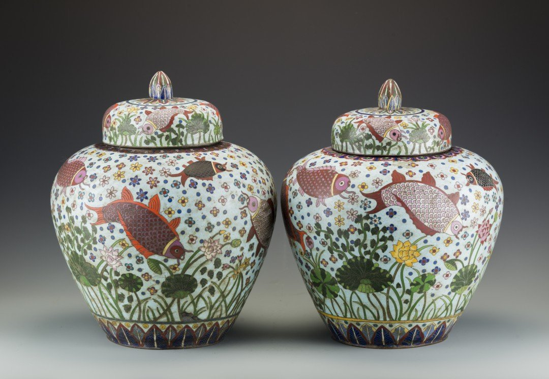 A Chinese Pair of Large Aquatic Themed Cloisonne Jars