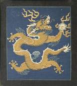 A Chinese Gold Embroidery of Dragon