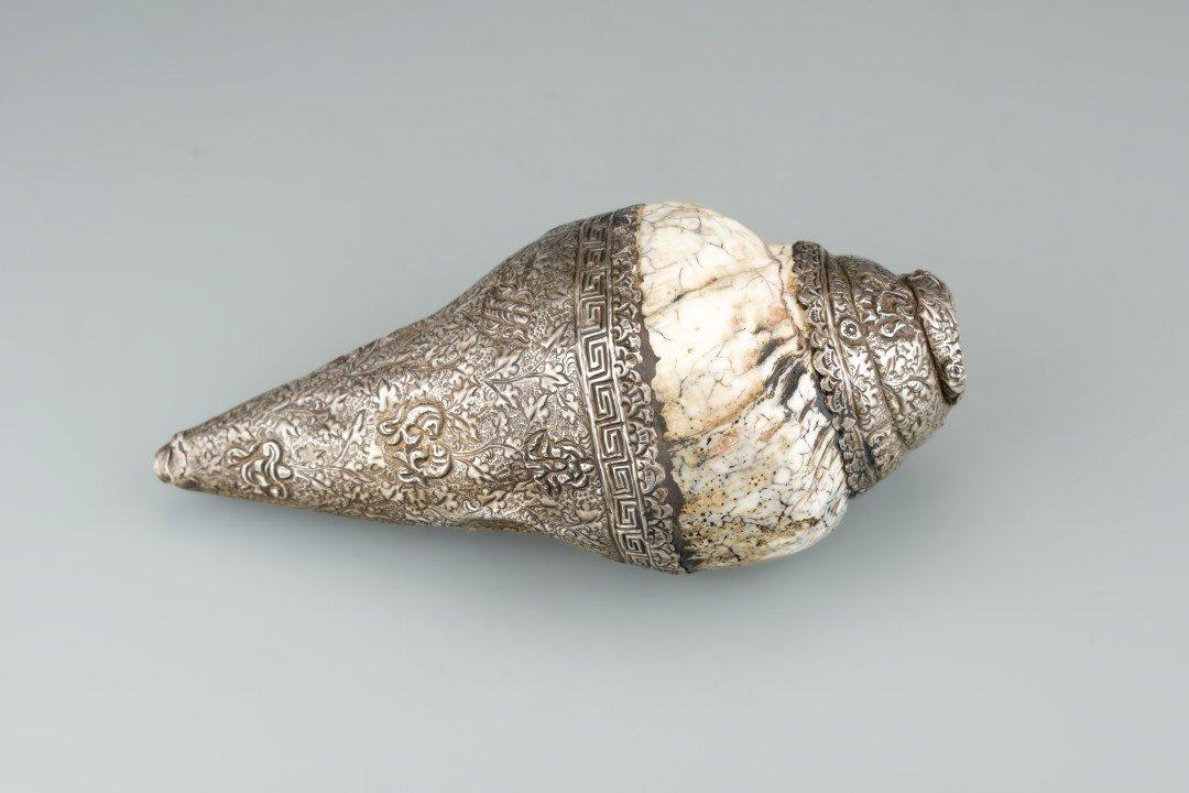 A Tibetan Metal Conch Shell Horn - 2