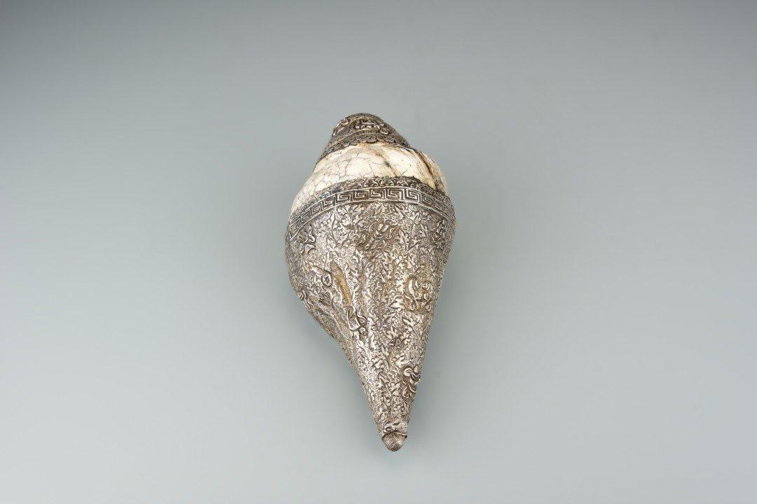 A Tibetan Metal Conch Shell Horn - 4