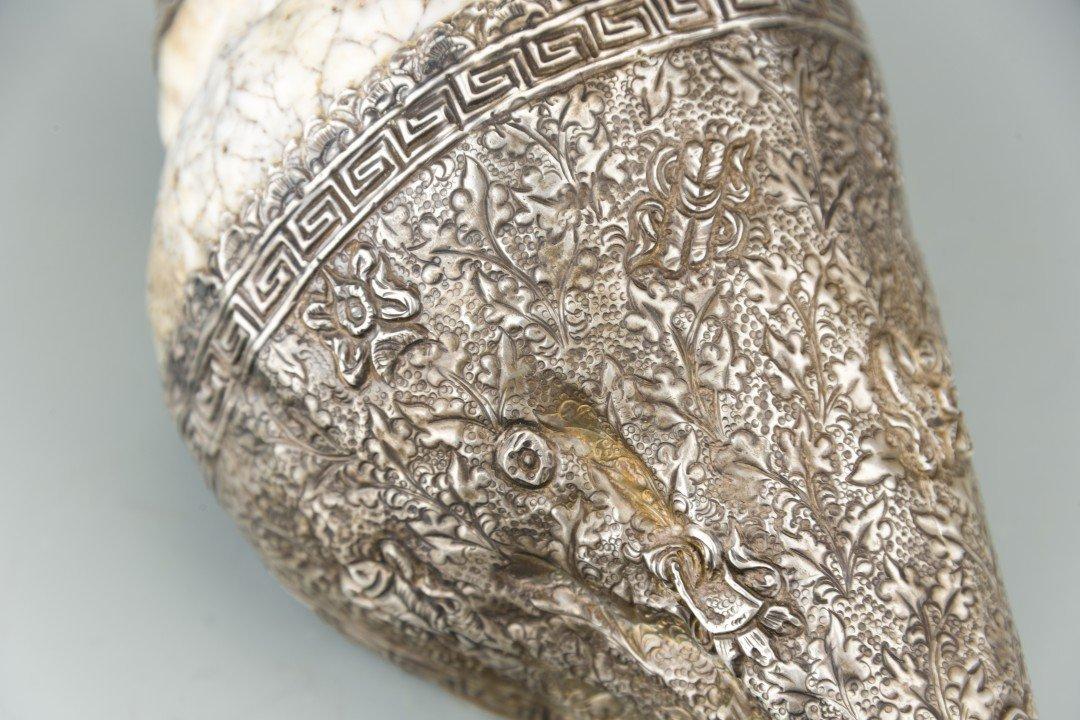 A Tibetan Metal Conch Shell Horn - 6