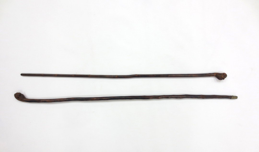 A Pair of Chinese Wooden Walking Sticks