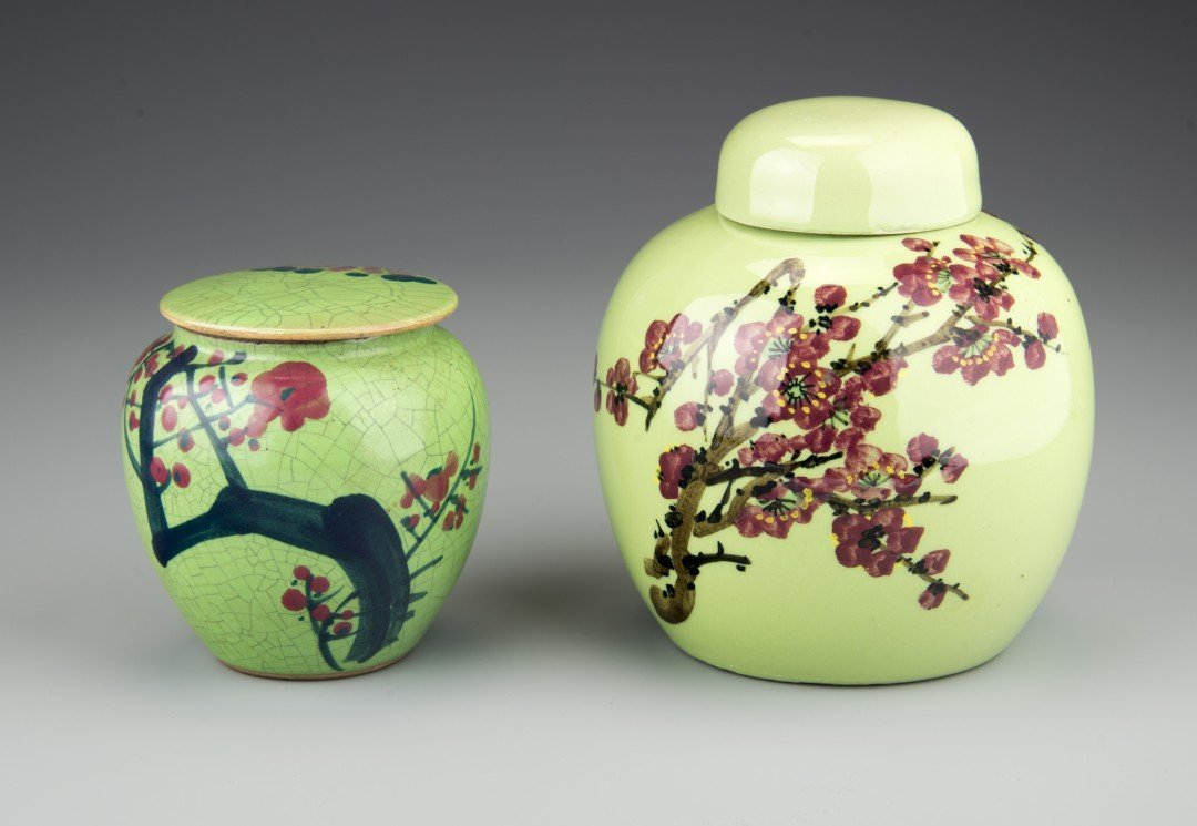 A Lot of Two Green Ginger Jars