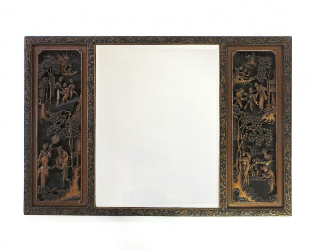 A Large Chinese Carved Wooden Mirror