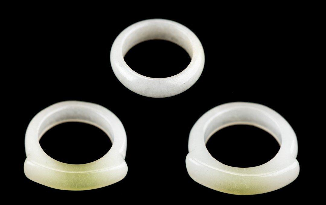 A Set of Three Chinese White Jade Rings