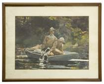 A Print of a Painting of Two Hunters on a Boat