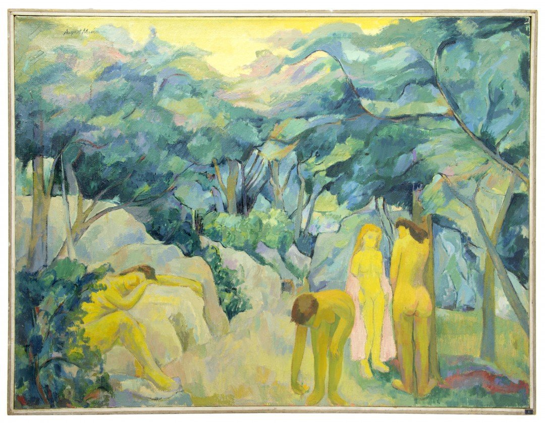"""August Mosca (1909-2002), """"Four Nudes in Park"""""""