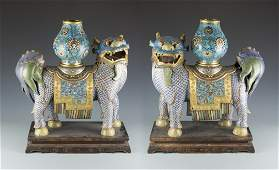 A Pair of Chinese Cloisonne Qilin on Rosewood