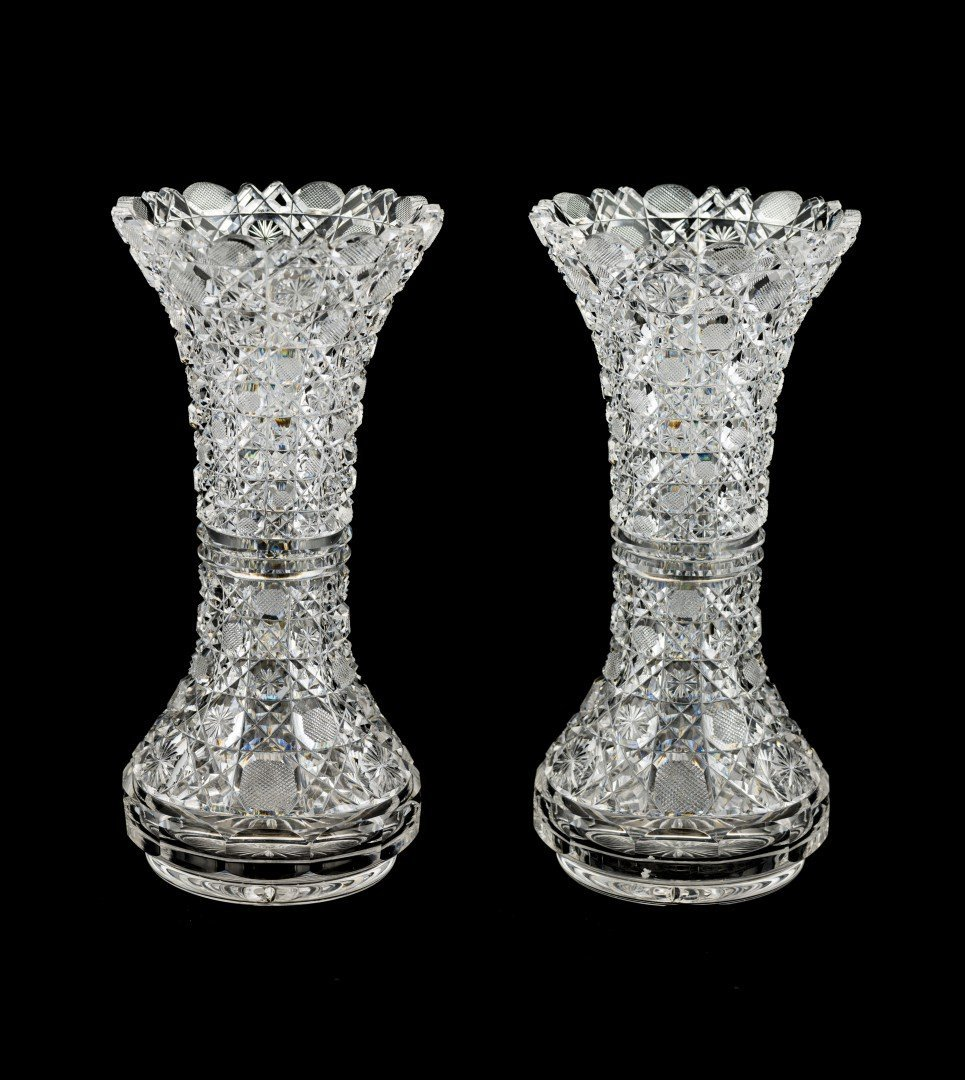 A Pair of Cut Glass Vases, Harvard Pattern