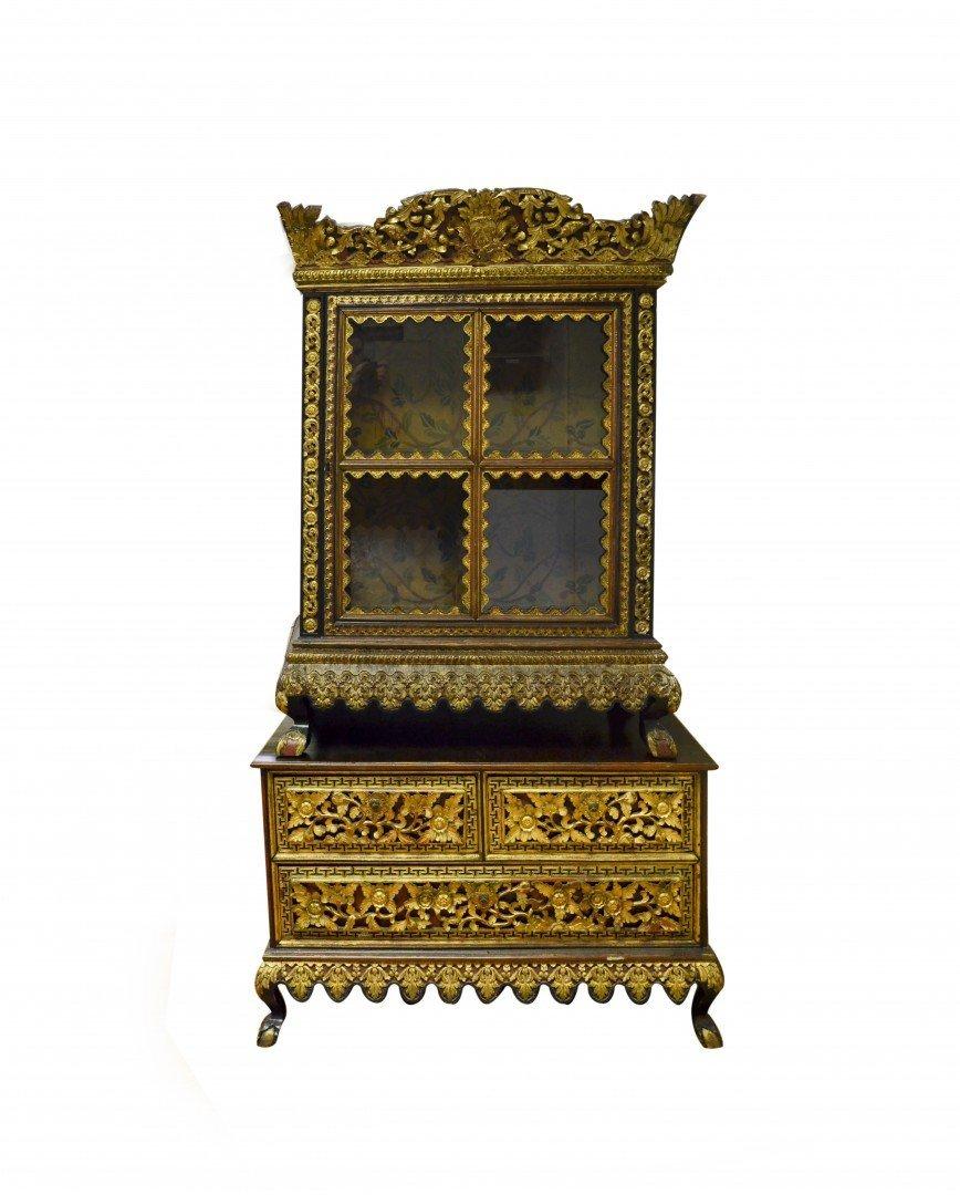 A Lemari Palembang Carved Wood Cabinet