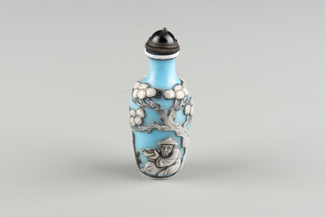 A Chinese Blue Peking Glass Snuff Bottle