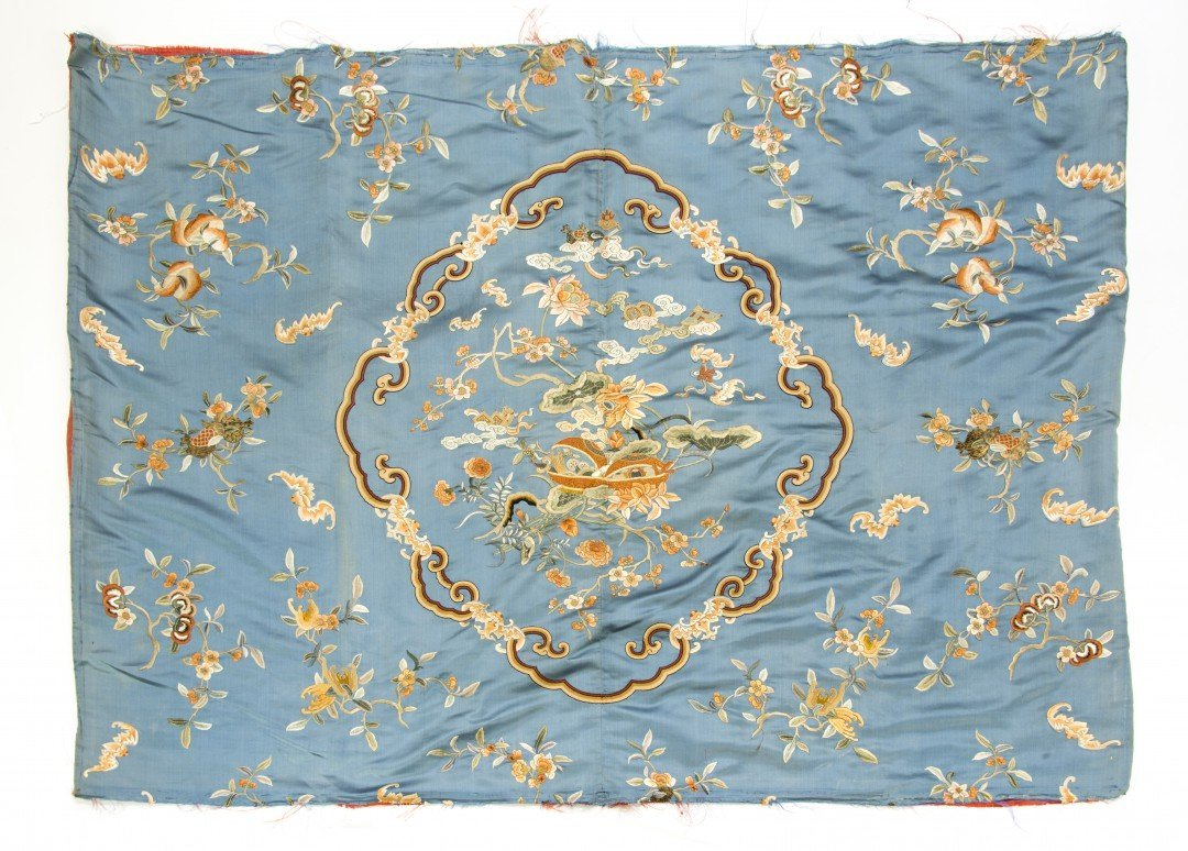 A Chinese Embroidered Silk Panel with Walnuts