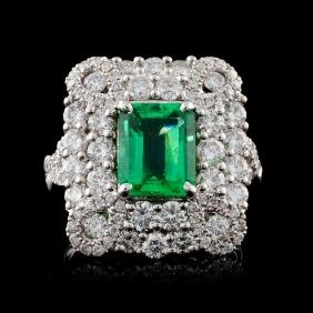 18K White Gold 1.83ct Emerald & 1.96ct Diamond Rin