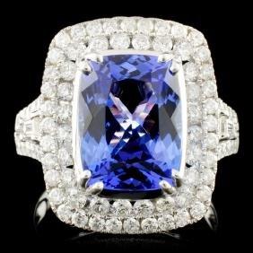 18K Gold 4.77ct Tanzanite & 1.24ctw Diamond Ring