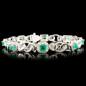 14K Gold 2.18ct Emerald & 1.50ctw Diamond Bracelet