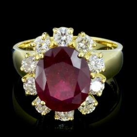 14K Gold 6.00ct Ruby & 1.00ctw Diamond Ring