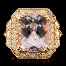 14K Gold 11.03ct Kunzite & 2.10ctw Diamond Ring