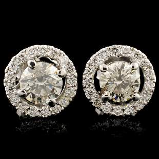 18K Gold 151ctw Diamond Earrings