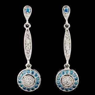 14K Gold 055ctw Fancy Diamond Earrings