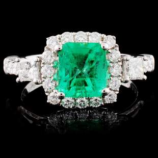 18K White Gold 135ct Emerald 082ctw Diamond Ri