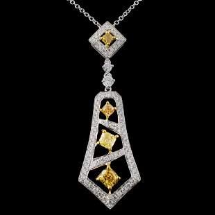 18K White Gold 115ctw Fancy Color Diamond Pendant