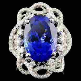 18K White Gold 828ct Tanzanite 096ct Diamond R
