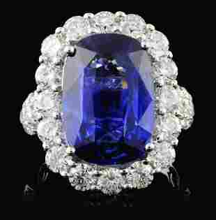 18K White Gold 852ct Sapphire 270ct Diamond Ri