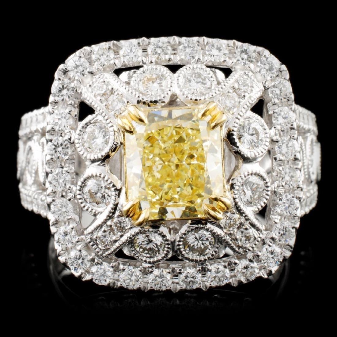 *GIA 18K Gold 2.74ctw Fancy Diamond Ring