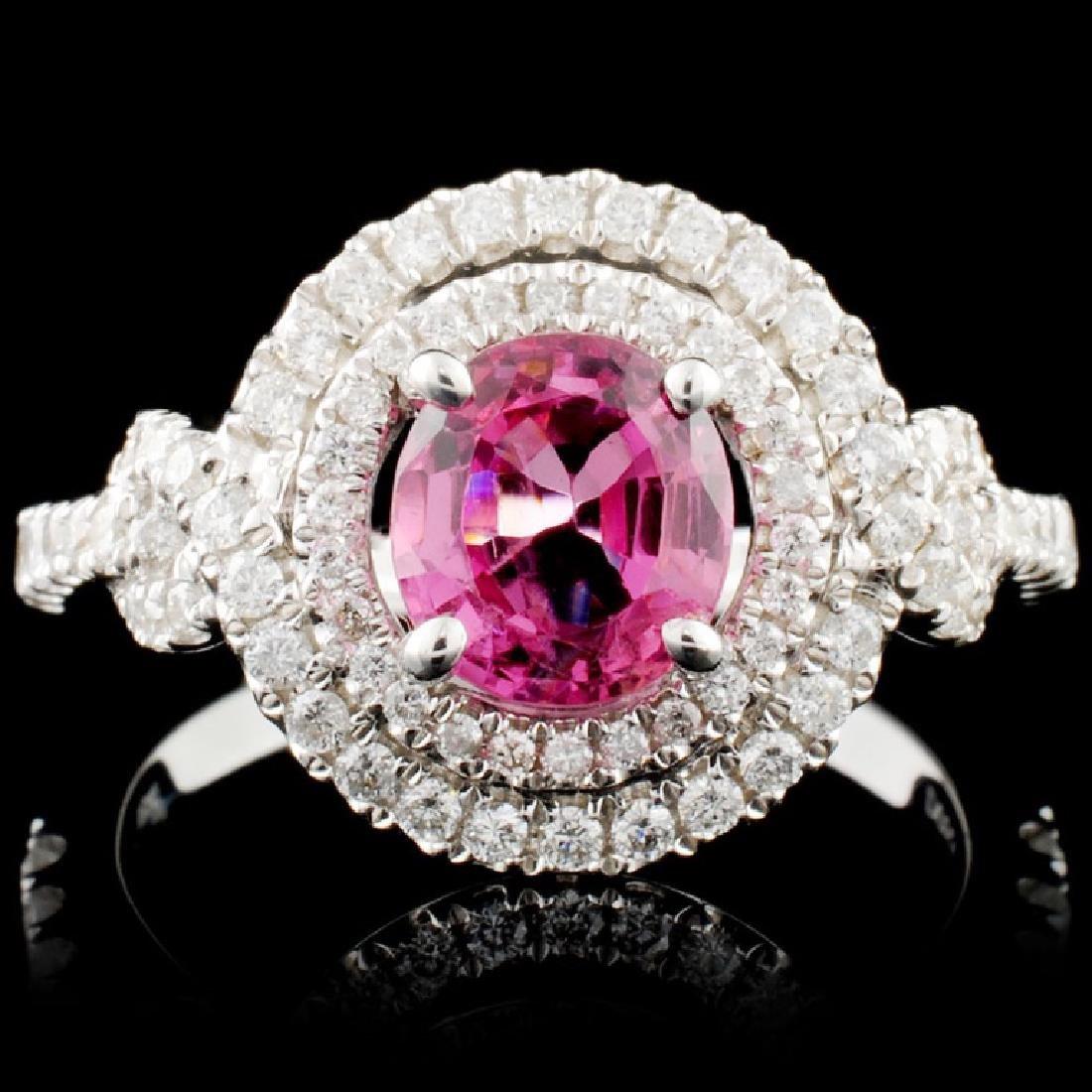 18K Gold 1.33ct Spinel & 0.53ctw Diamond Ring
