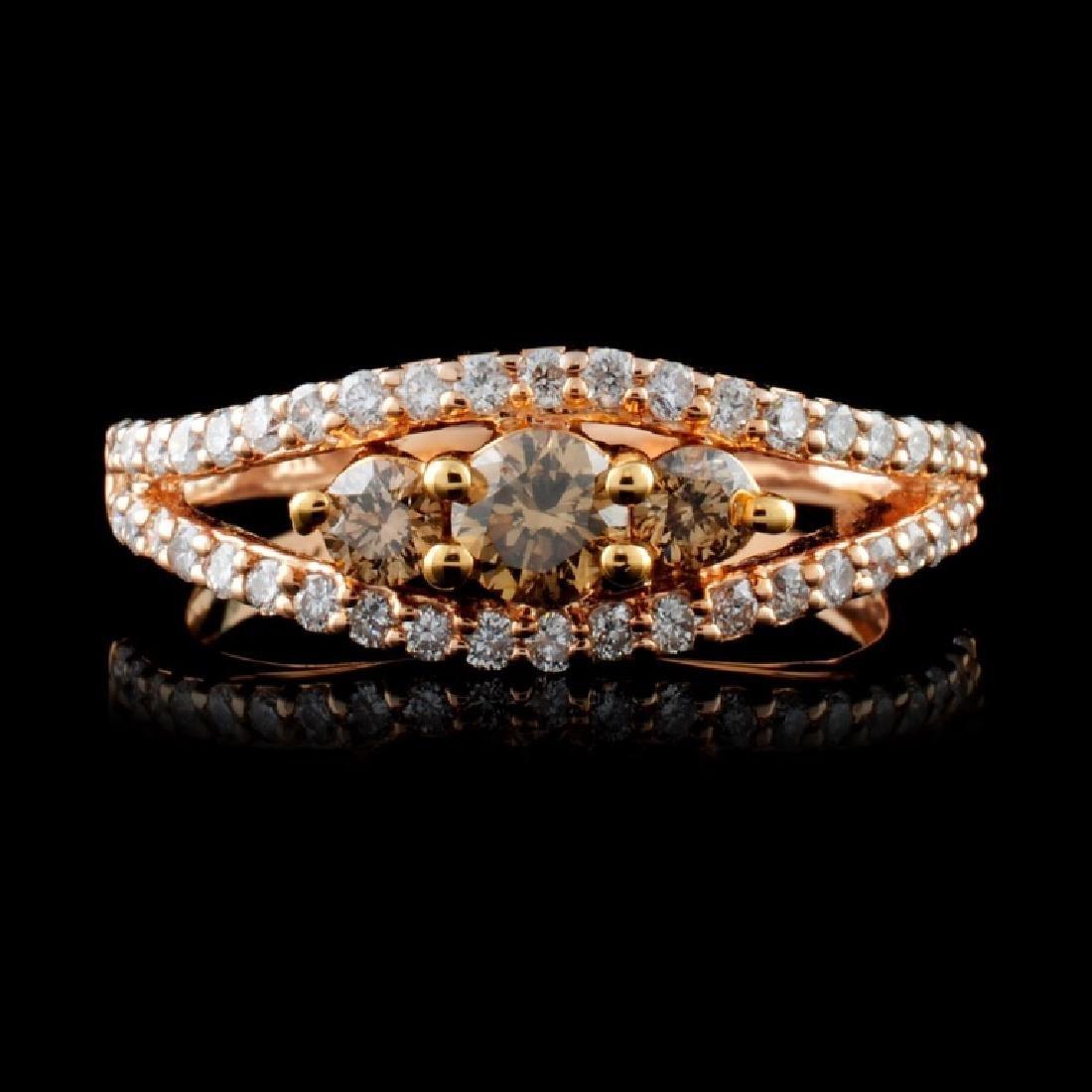 14K Rose Gold 0.79ctw Fancy Color Diamond Ring
