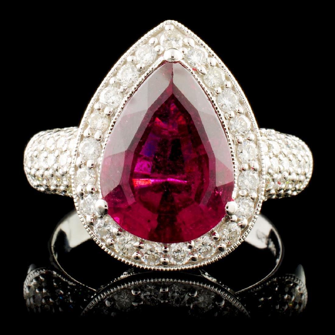 18K Gold 4.33ct Tourmaline & 0.85ctw Diamond Ring