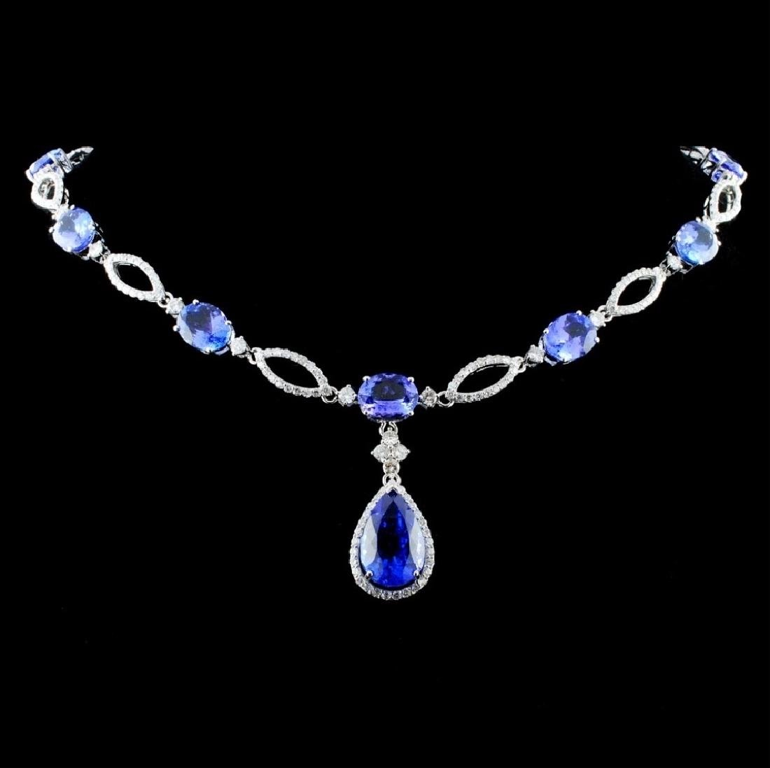 14K Gold 27.20ctw Tanzanite & 3.98ct Diamond Neckl