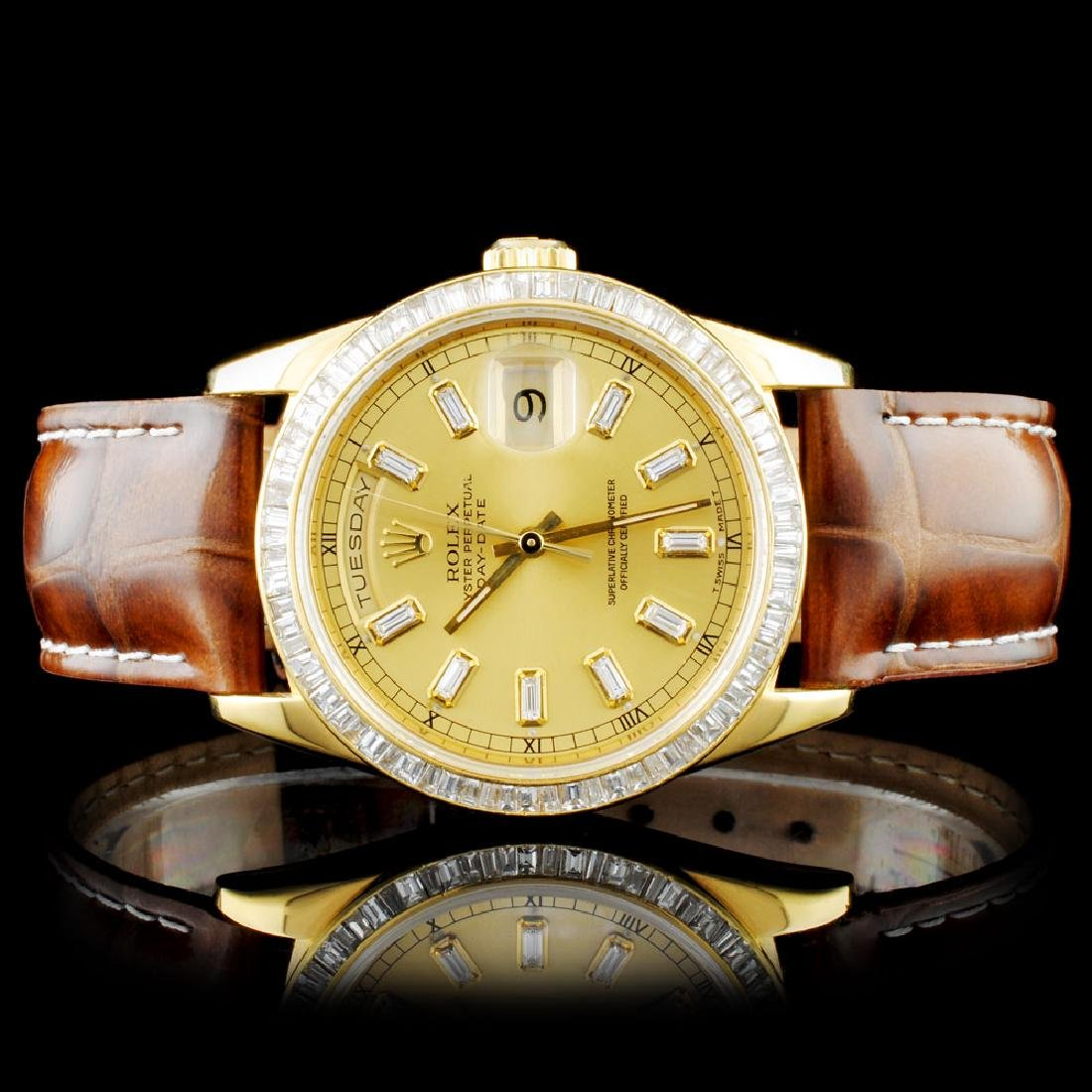 Rolex 18K YG Day-Date Baguette Diamond Watch